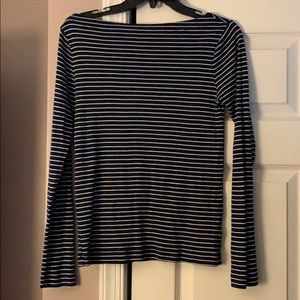 4/$25 Gap Navy White Stripe bateau neck top Medium